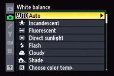 White Balance Menu D90